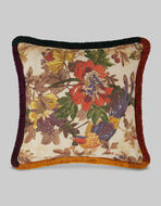 FLORAL PRINT CUSHION WITH FRINGE
