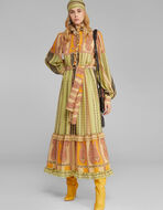 SILK DRESS WITH STRIPED PAISLEY PRINT
