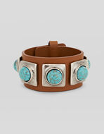 MAXI LEATHER BRACELET WITH STUDS AND STONES