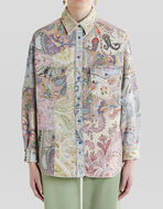 JEANS JACKET WITH FLORAL PAISLEY PATTERNS