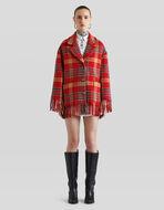 流苏格纹羊毛厚夹克