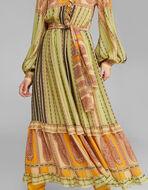 PAISLEYストライプ柄 プリント シルク ドレス