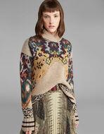 ジャカード織フローラル ウールセーター