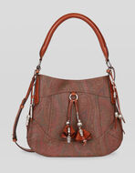 JACQUARD PAISLEY BAG WITH TASSELS AND PENDANTS