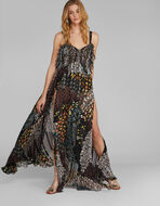 FLORAL PAISLEY PRINT EVENING DRESS