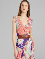 PATCHWORK PRINT AND RUCHE DRESS