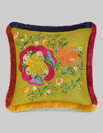 CUSHION WITH FLORAL EMBROIDERY AND FRINGE