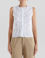 TOP WITH COTTON EMBROIDERY AND LACE