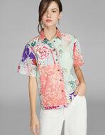 花卉拼接印花衬衫