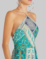 LONG FLORAL PATCHWORK PRINT SILK DRESS