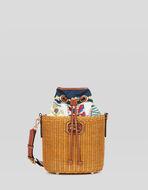 WOVEN WICKER BUCKET BAG