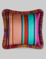 STRIPED CUSHION WITH FRINGE