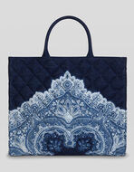 PAISLEY PRINT MATELASSÉ SHOPPING BAG