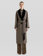 CHECK WOOL AND EMBROIDERY COAT