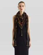 DEVORÉ VELVET SCARF WITH TASSELS