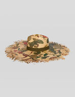 RAFFIA HAT WITH TIGERS AND WATER LILIES