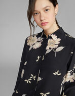 フローラルプリント シルクシャツ