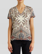 T-SHIRT IN JERSEY DISEGNO PAISLEY FLOREALE