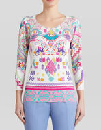 SILK JUMPER WITH PAISLEY EMBROIDERY-EFFECT PRINT