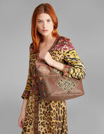 EMBROIDERED PAISLEY SHOPPER  BAG
