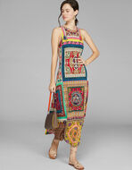 LONG PATCHWORK PRINT JERSEY DRESS