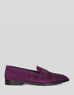 SUEDE MOCCASINS WITH PAISLEY PRINT