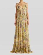 CREPON DRESS WITH PAISLEY PRINT