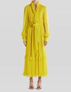 LONG SILK DRESS WITH RUCHES