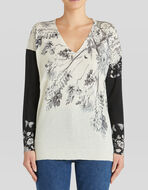 SILK AND CASHMERE JUMPER WITH FLOWERS AND BUTTERFLIES