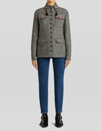 PRINCE OF WALES CHECK SAFARI JACKET WITH EMBROIDERY