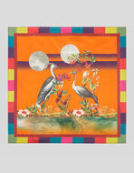 SILK POCKET SQUARE WITH HERONS