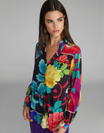 花柄クレープデシン シャツ