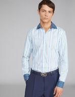 PAISLEYストライプ柄 2種類生地のシャツ