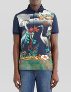 PIQUET POLO SHIRT WITH PRINTED HERONS