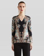 SILK JUMPER WITH PAISLEY PATTERNS