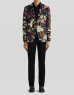 SEMI-TRADITIONAL TIGER AND WATER LILY PRINT JACKET