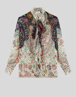 CRÉPON SHIRT WITH RIBBON AND FLORAL PATTERN
