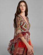 パッチワークプリント 刺繍入り ロングドレス
