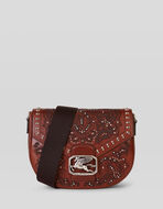 LASERED LEATHER PEGASO BAG WITH STUDS
