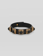 LEATHER CROWN ME BRACELET WITH STUDS AND CABOCHON STONES