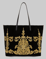 刺繍入りベルベットショッピングバッグ
