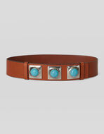 CROWN ME LEATHER BELT WITH STUDS AND TURQUOISES