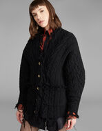 MAXI WOOL CARDIGAN WITH DESTROYED EFFECT