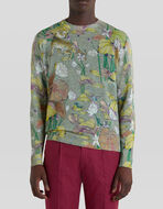 TIGER AND WATER LILY PRINT LINEN JUMPER