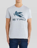 COTTON T-SHIRT WITH PAISLEY EMBROIDERY AND PEGASO