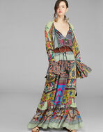 LONG PATCHWORK PRINT DRESS