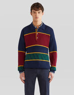 KNITTED POLO SHIRT WITH REGIMENTAL STRIPES