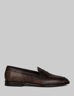PRINTED LEATHER LOAFERS