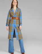 细格纹羊毛外套