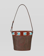 PAISLEY CROWN ME BUCKET BAG WITH TURQUOISE STUDS